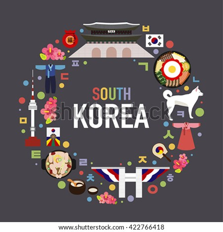 south korea vector object