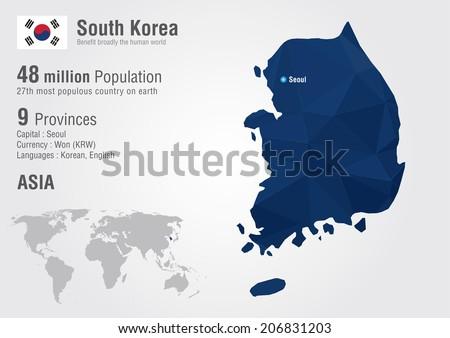south korea world map with a