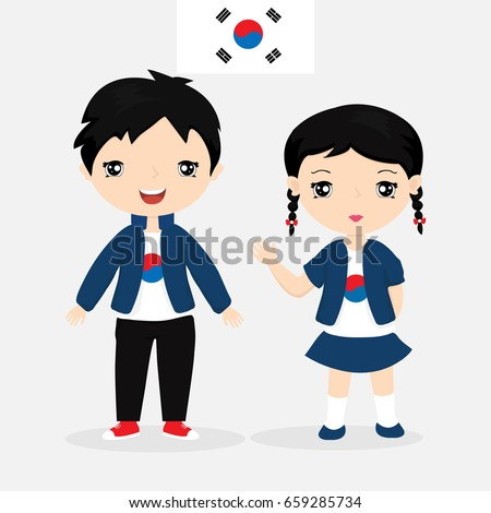 south korean boy and girl in a