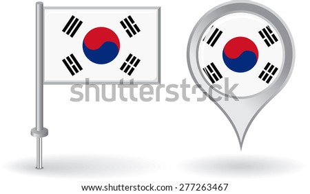 ee6994c698fc South Korean pin icon and map pointer flag. Vector illustration.