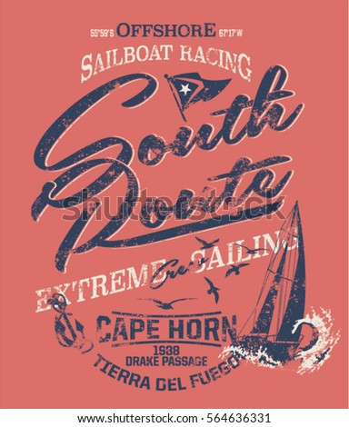 South route extreme sailing, print for boy wear grunge effect in separate layer