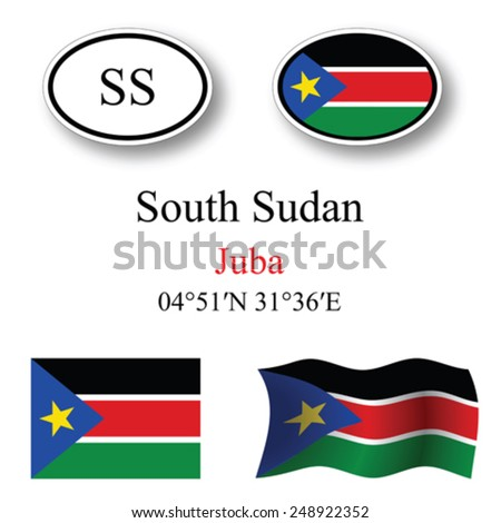 south sudan icons set against white background, abstract vector art illustration, image contains transparency