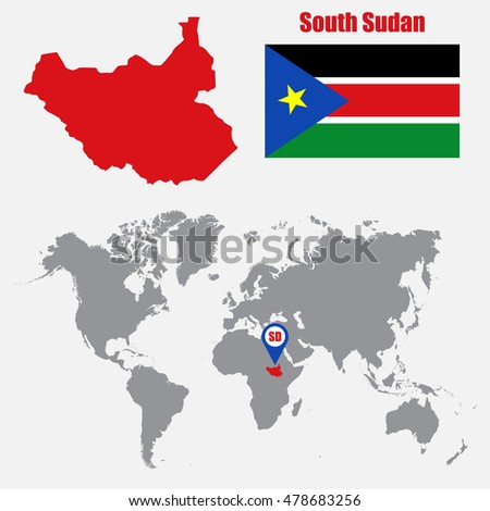 South Sudan map on a world map with flag and map pointer. Vector illustration
