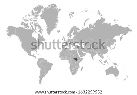 South Sudan on detailed world map. With overlay South Sudan flag. The location of the country of South Sudan on the world map.