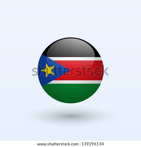 South Sudan Round Flag. Vector illustration.