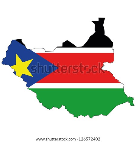 South Sudan vector map with the flag inside.