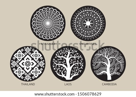 Southeast Asia Decoration Background Set, Myanmar, Philippines, Thailand, Laos and Cambodia