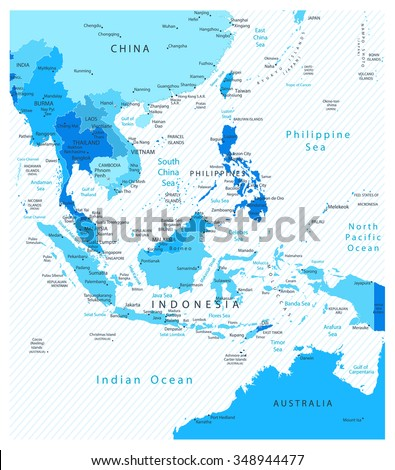 southeast asia detailed map