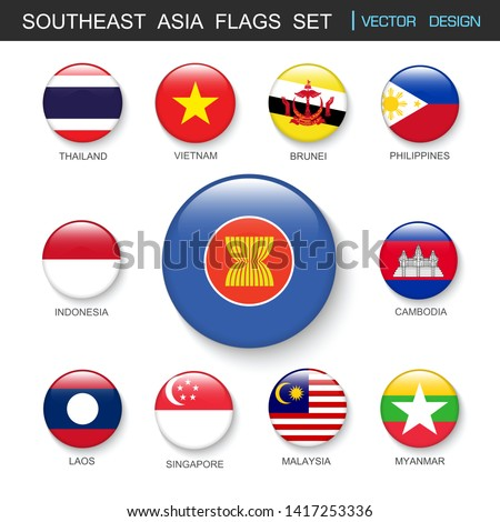 southeast asia flags  set and