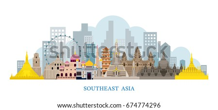 Southeast Asia Landmarks Skyline, Cityscape, Travel and Tourist Attraction