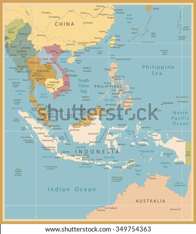 southeast asia map detailed