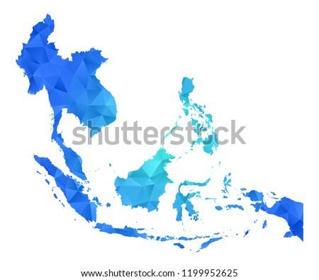 southeast asia map in geometric
