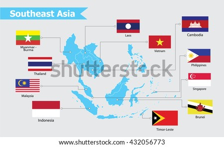 Southeast asia map, vector illustration