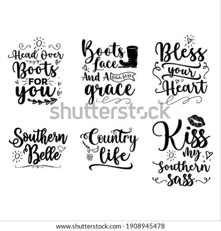 Southern Girl Quotes Bundle Svg Vol.02 Stock fotó ©