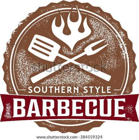Southern Style Barbecue BBQ Stamp