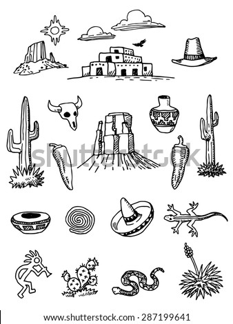 southwest desert hand drawn