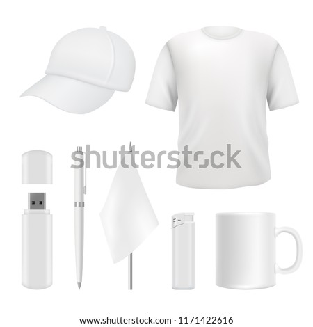 Souvenirs templates. Promotional branding gifts empty elements. Blank business identity on white. Vector business souvenir cup and cap, t-shirt and flash drive illustration