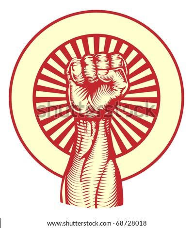 Soviet cold war propaganda poster style revolution fist raised in the air