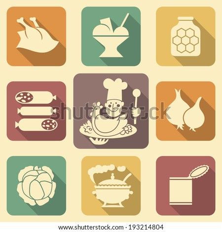 Soviet food retro icons with long shadows set