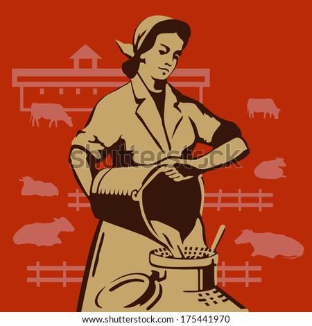 soviet milkmaid pouring buckets