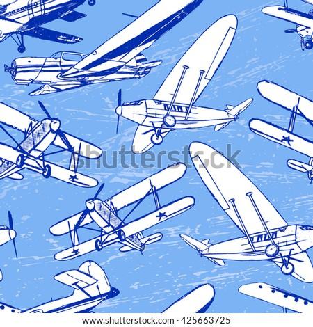 soviet retro planes seamless