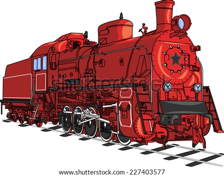 soviet retro red locomotive
