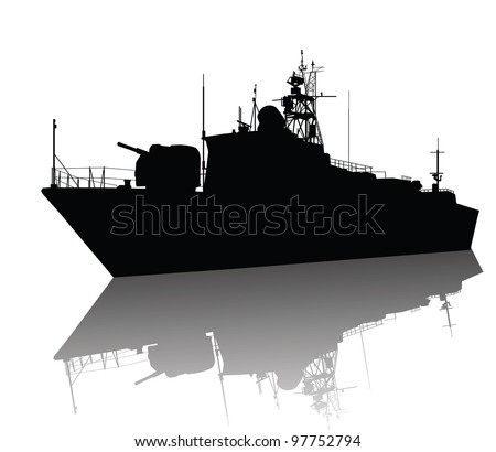 Soviet (russian) anti-submarine  corvette silhouette. Vector on separate layers