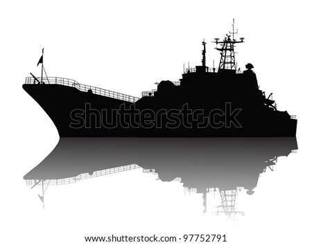 Soviet (russian) landing ship silhouette. Vector on separate layers