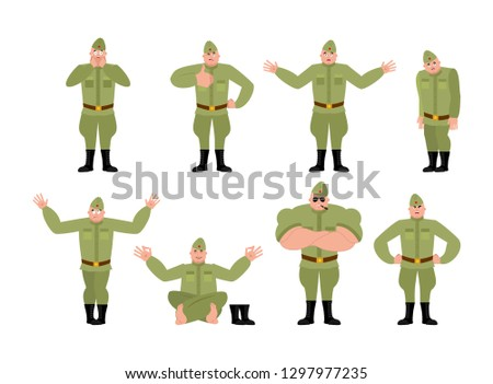 Soviet soldier set poses and motion. Retro Russian warrior happy and yoga.  sleeping and 41449da6a991