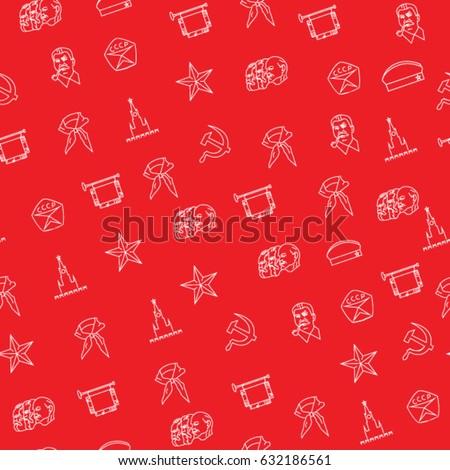 soviet symbols seamless pattern