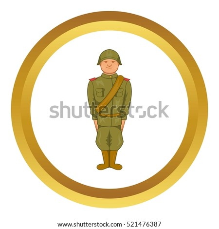 Soviet uniform of World War II vector icon in golden circle, cartoon style isolated on white background