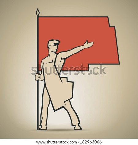 soviet worker with red flag in