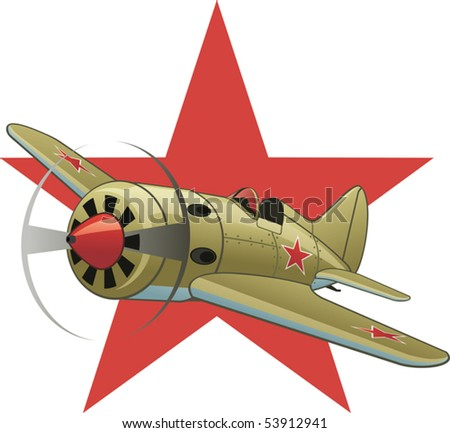 Soviet WW2 airplane on the red star background