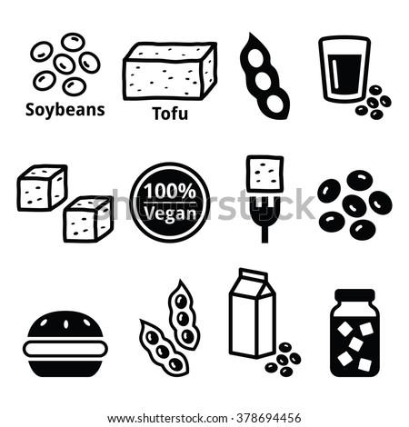 soy beans  soya  tofu icons set