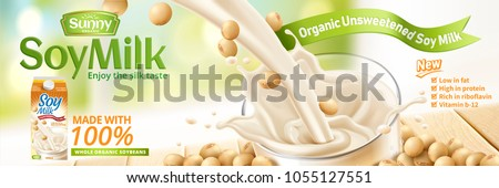 Soy milk pouring down into glass cup with beans on wooden table in 3d illustration, bokeh natural background
