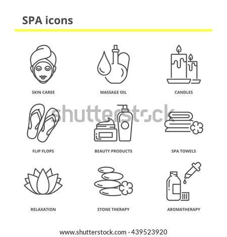 spa and beauty icons set  skin