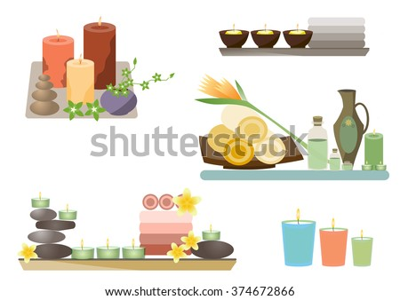 spa and body care icons flat