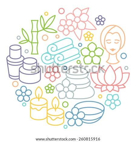 Spa and recreation background with icons in linear style.