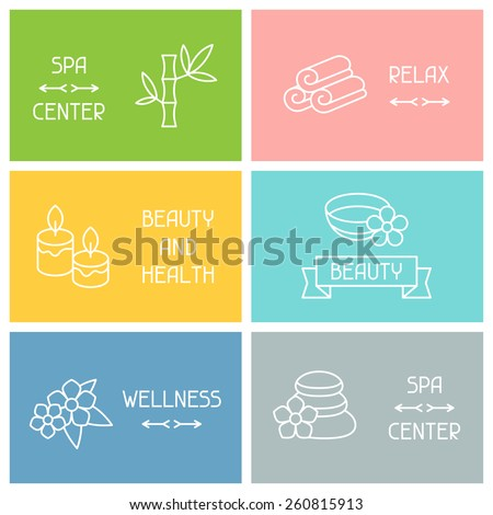 Spa and recreation business cards with icons in linear style.