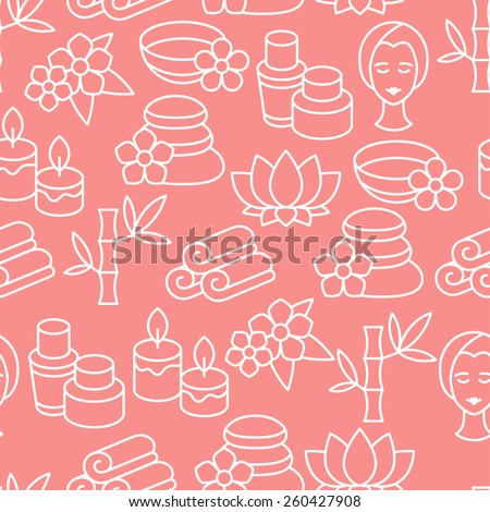 Spa and recreation seamless pattern with icons in linear style.