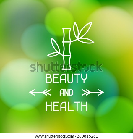 Spa beauty and health label on abstract blurred background.
