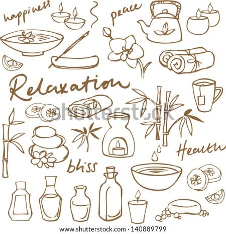 spa   beauty doodle icons set