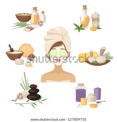 spa beauty elements with woman