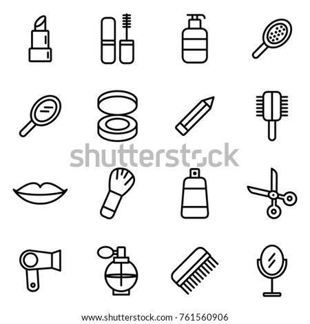 Spa & beauty icons. Beauty cosmetic minimalistic icons