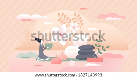 SPA beauty procedure with massage and skin procedure tiny person concept. Healthy wellness salon center with harmonious interior and calm atmosphere vector illustration. Female treatment therapy scene