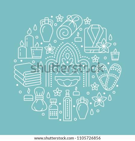 Spa center banner illustration with flat line icons. Essential oils, aromatherapy massage, turkish steam bath hamam sauna, bathrobe. Circle template thin linear signs body treatments.