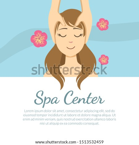 Spa Center Banner Template with Space for Text, Young Woman Getting Face Massage, Facial Treatments Vector Illustration
