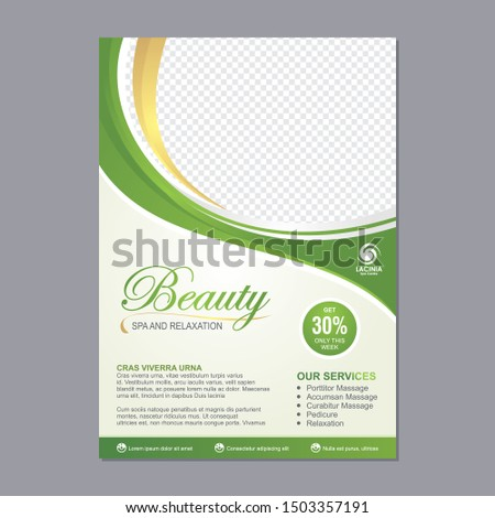 Spa Flyer Template design with simple, elegant and stylish design, with green and gold color combination, suitable for brochure, flyer, invitation and other