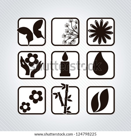 Spa icons silhouettes, flower, candle, raindrop, flowers, hands n grey background