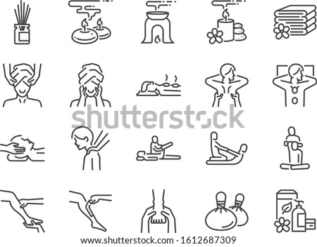 Spa line icon set. Included icons as relax, relieve, sleep, sound, touch, feeling and more.